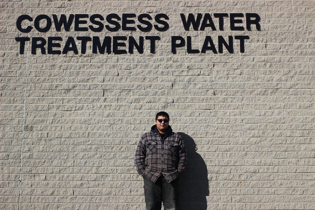 Shane Okemaysim. Cowessess Public Works Maintenance, outside of the water treatment plant. Photo by Dan Sherven.