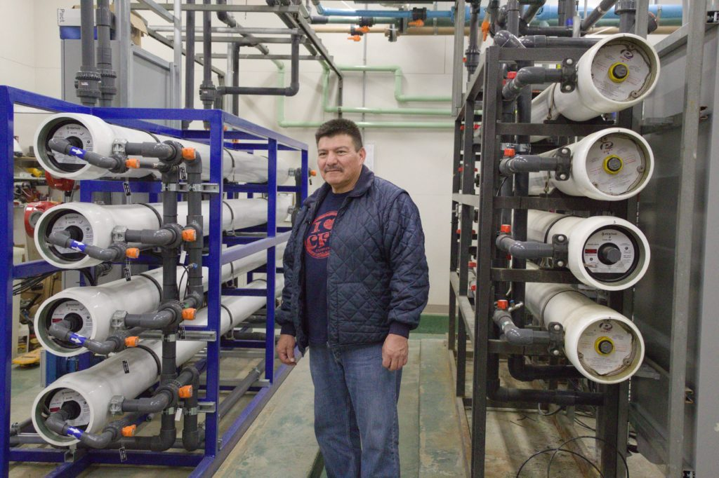 Ira Asiaican, the primary water treatment plant operator in Cowessess, SK, stands in the Cowessess water treatment plant on March 6, 2020. Photo by Libby Giesbrecht.