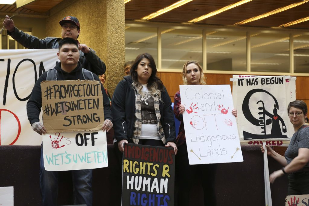 Demonstrators stand in solidarity with Wet'suwet'en protests at the University of Regina on March 4, 2020. Photo by Kaitlyn Schropp